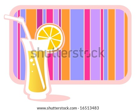 Stylized glass of lemonade with striped frame isolated on a white background. - stock photo