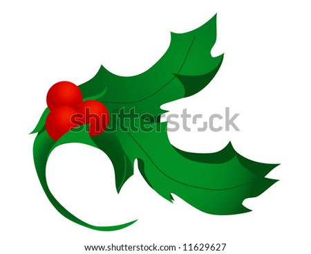 Stylized holly leaves and berries. Excellent for corner flourishes. - stock photo