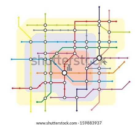 stylized illustration of a metro system map - stock photo