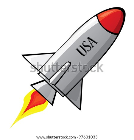 Stylized illustration of a retro rocket ship space vehicle blasting off into the sky. - stock photo