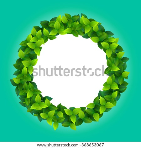 stylized illustration of round frame made of fresh green summer leaves - stock photo