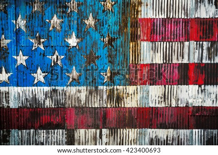 Stylized image of the American flag on a rusty fence - stock photo