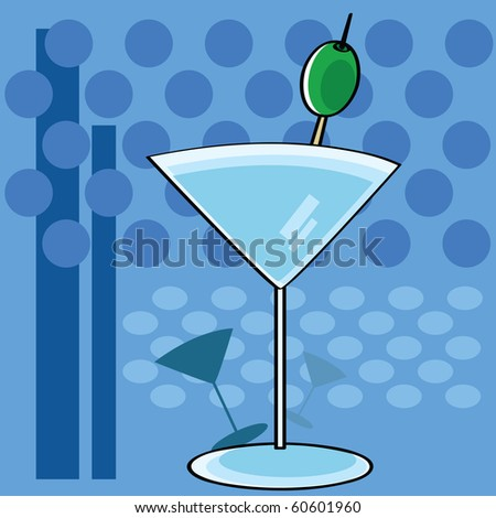 Stylized jpeg cartoon illustration showing a cocktail martini glass with a funky background - stock photo