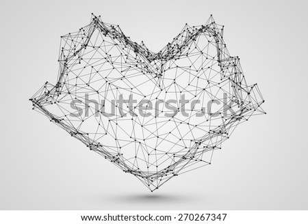 Stylized low poly wire construction concept concepts connection heart - stock photo
