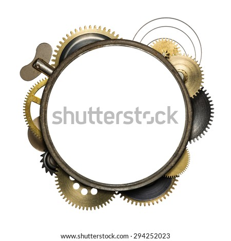 Stylized mechanical collage with isolated copy space. Made of clockwork gears and textures. - stock photo