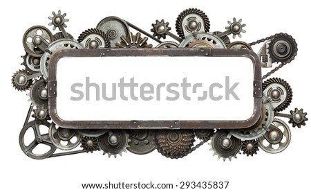 Stylized mechanical collage with isolated copy space. Made of metal gears and textures. - stock photo