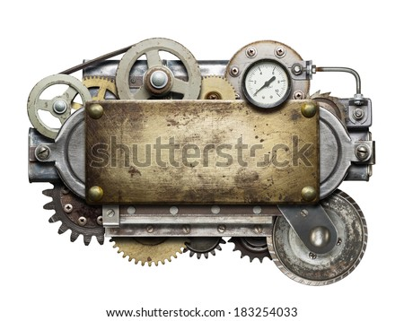 Stylized metal collage of mechanical device.  - stock photo