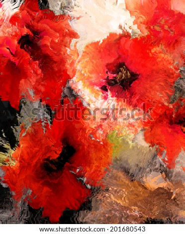 Stylized poppies on grunge stained and striped  background - stock photo