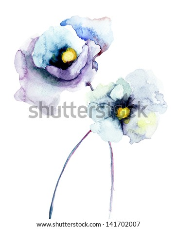 Stylized Poppy flowers, Watercolor painting - stock photo