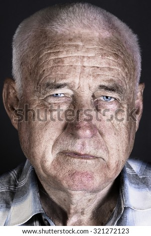 Stylized portrait of an old man - stock photo