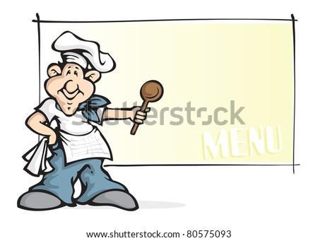 stylized smiling chef mascot, menu (raster version) - stock photo