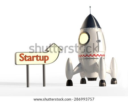 Stylized Space Rocket Ready for Launch With Signpost - Start-Up Concept - stock photo