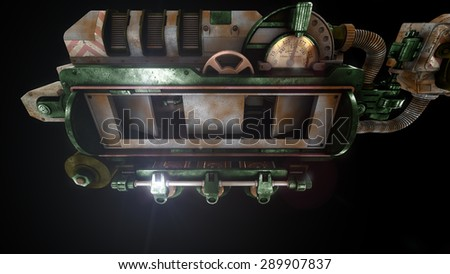 Stylized steam punk rust mechanism  - stock photo