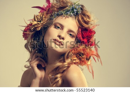 Stylized summer portrait - stock photo