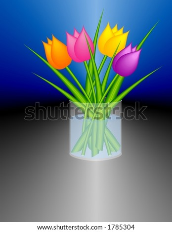 Stylized tulips in a cylindric glass vase. (It is a bitmap drawing / not a photo). - stock photo