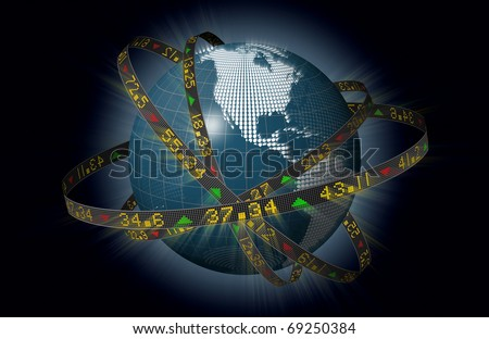 Stylized world markets with globe and orbiting ribbons displaying sliding stock market tickers - stock photo