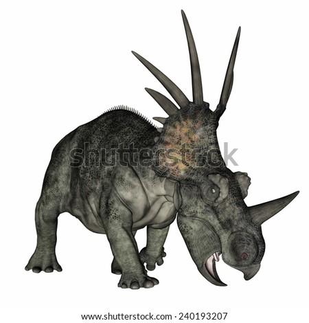 Styracosaurus dinosaur standing in white background- 3D render - stock photo