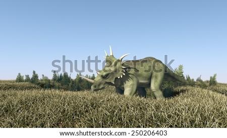 Styracosaurus grazing - stock photo