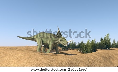 styracosaurus walking on sand terrain - stock photo