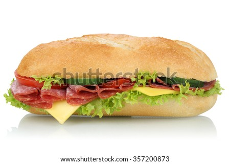 Sub deli sandwich baguette with salami, cheese, tomatoes and lettuce side view isolated on a white background - stock photo