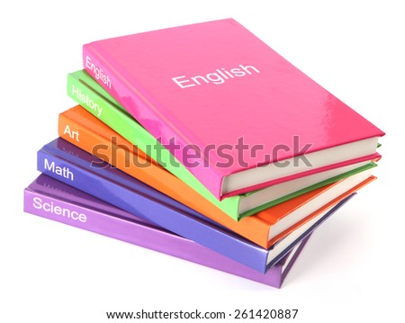 Subject books on white, - textbooks - stock photo