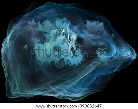 Subjective Neuron series. Backdrop of abstract shapes, colors and elements on the subject of mind, virtual reality, technology, science and design - stock photo