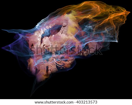 Subjective Neuron series. Design composed of abstract shapes, colors and elements as a metaphor on the subject of mind, virtual reality, technology, science and design - stock photo