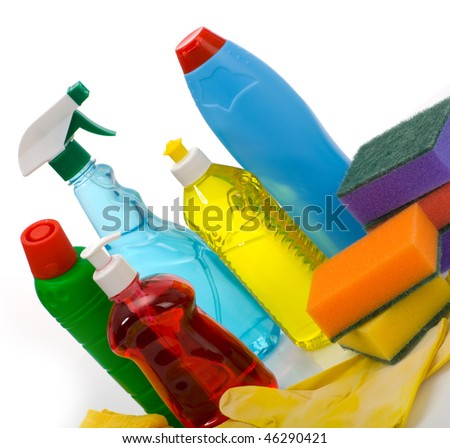 Subjects for sanitary cleaning a house - stock photo