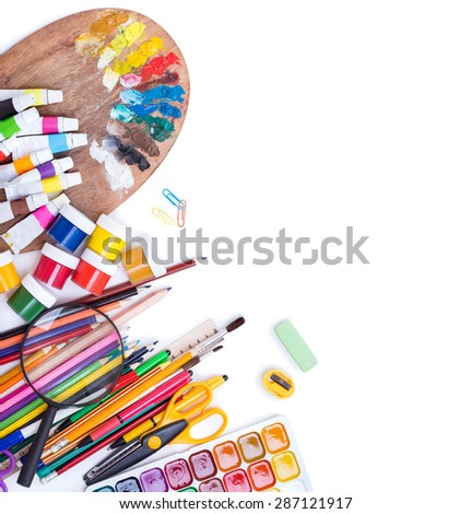 Subjects for school and work on a white background - stock photo