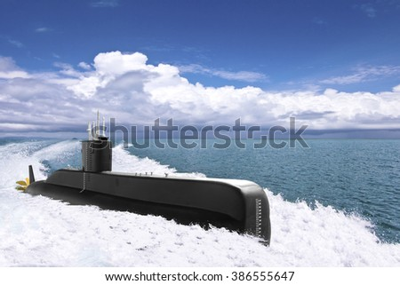 Submarine floating over the ocean - stock photo