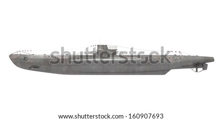 Submarine Isolated - stock photo
