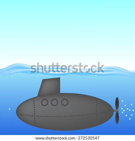 Submarine under Water. The Military Ship in the Sea - stock photo