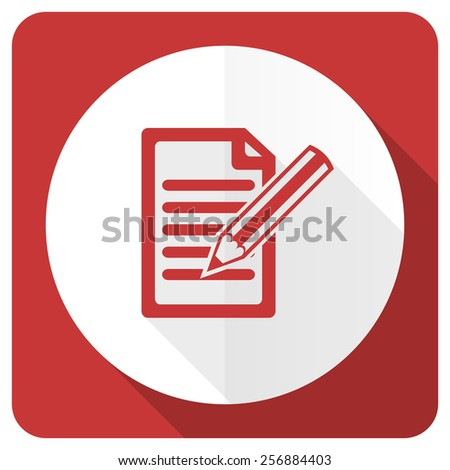 subscribe red flat icon write sign  - stock photo