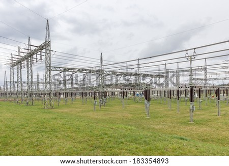Substation from a utility company. - stock photo