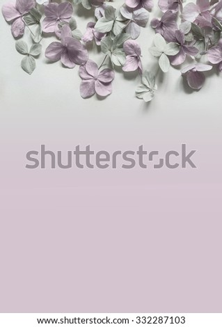 Subtle artistic floral background with hortensia flowers - stock photo