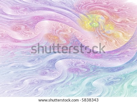 Subtle sunset abstract on white background - surreal - stock photo