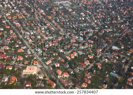 Suburban area of a town viewed from above - stock photo