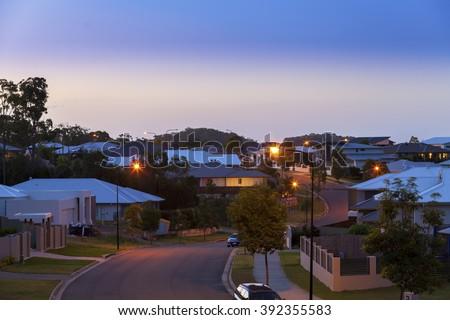 Suburban australian street at night - stock photo
