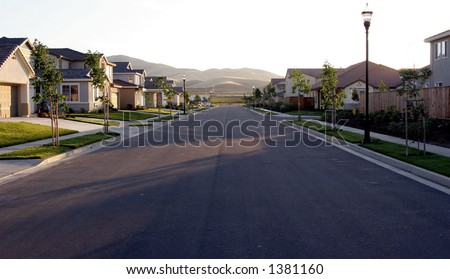 suburban california street. - stock photo