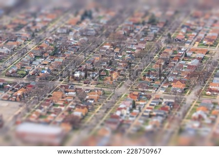 Suburban Chicago - residential neighborhood tilt shift focus style. United States aerial view. - stock photo