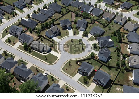 Suburban culdesac homes aerial in the eastern United States. - stock photo