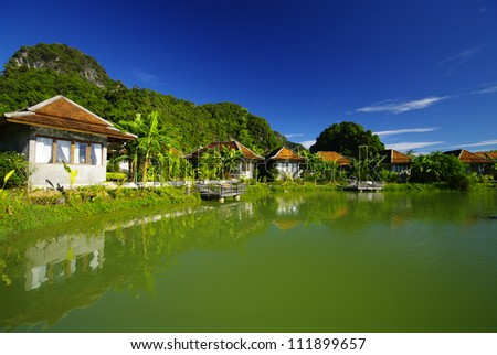 Suburban Executive Home on lake, real estate, copy space - stock photo