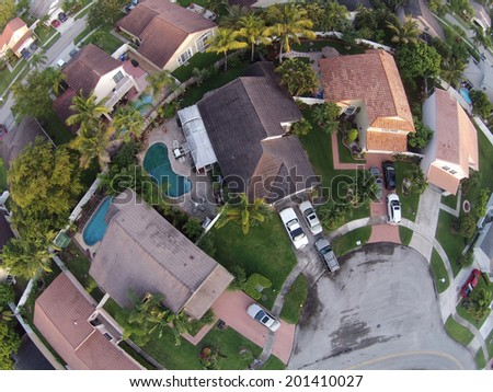 Suburban Florida homes seen in aerial view - stock photo