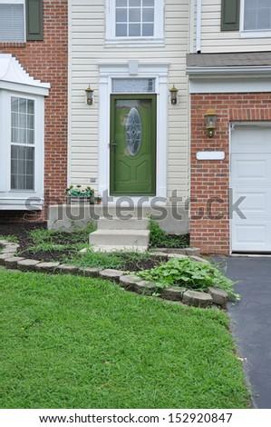 Suburban Home Entrance USA Residential Neighborhood - stock photo