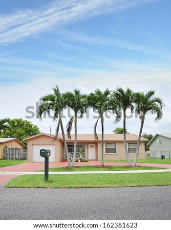 Suburban Home with Curbside Mailbox Palm Trees Residential Neighborhood USA Blue Sky Clouds - stock photo