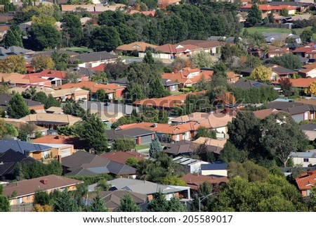 Suburban houses seen from high vantage point - stock photo