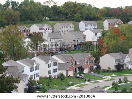 Suburban housing - stock photo