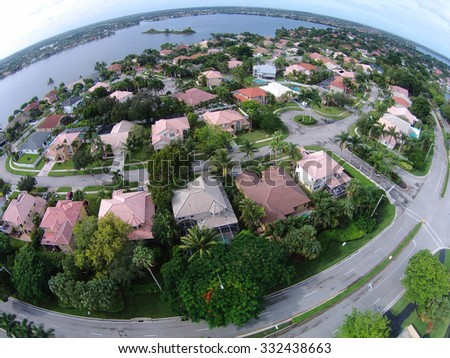 Suburban neighborhood in Florida seen from high up - stock photo