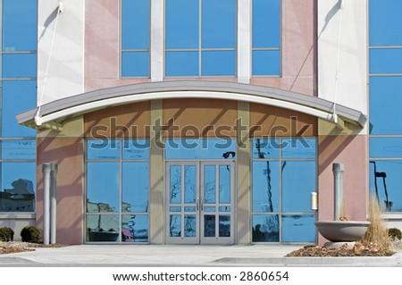Suburban office building entrance - stock photo