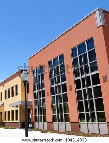 Suburban school/office  building exterior fragment - stock photo